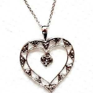 Sterling silver open heart with small crystals